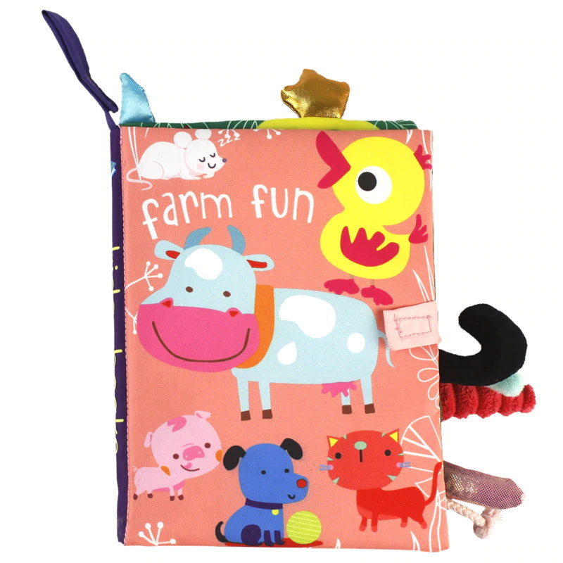 Baby Early Learning Puzzle Toy Fun Interactive Nontoxic Crinkle Cloth Book With Sound