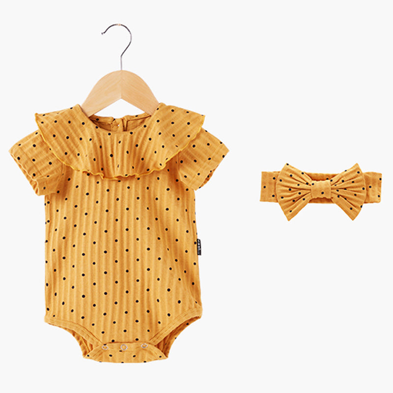 Baby Girl Summer Clothes Cotton Ruffle Onesies Short Sleeve Dot Print Romper