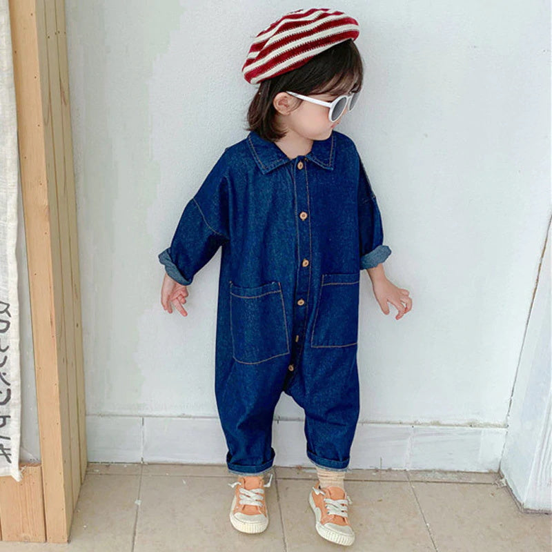 Boys Girls Casual Letter Long Sleeve Denim Jumpsuit Outfit