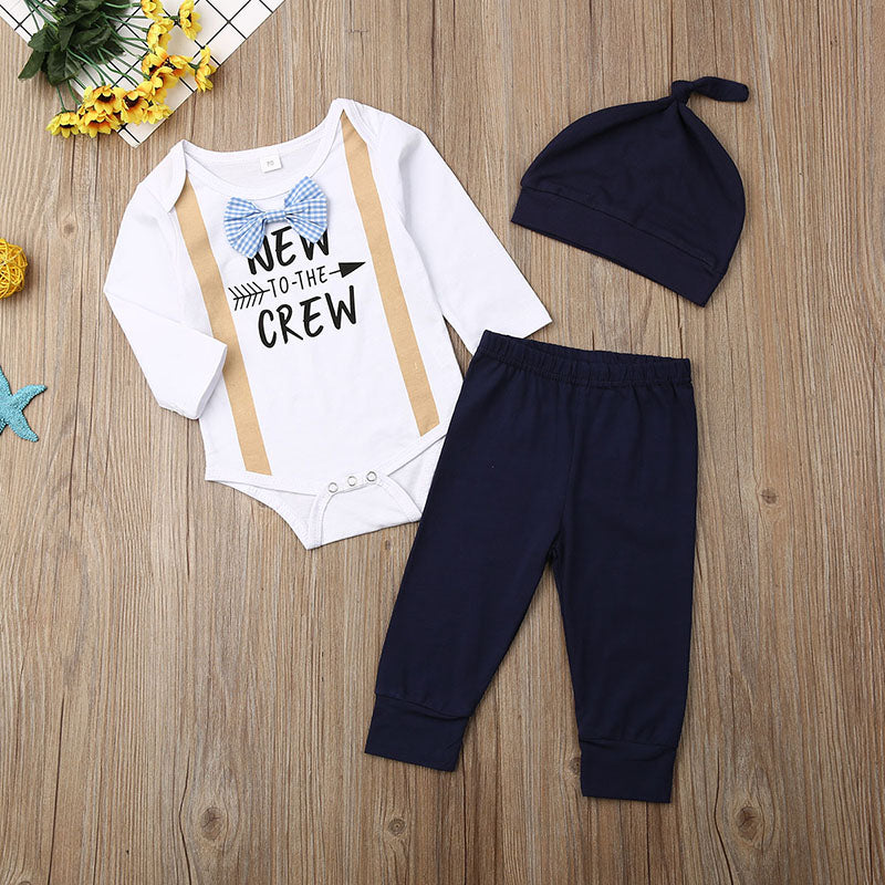 Cute Baby Boys 3Pcs Autumn Outfits Set Bow Tie Long Sleeve Romper Long Pants Hat