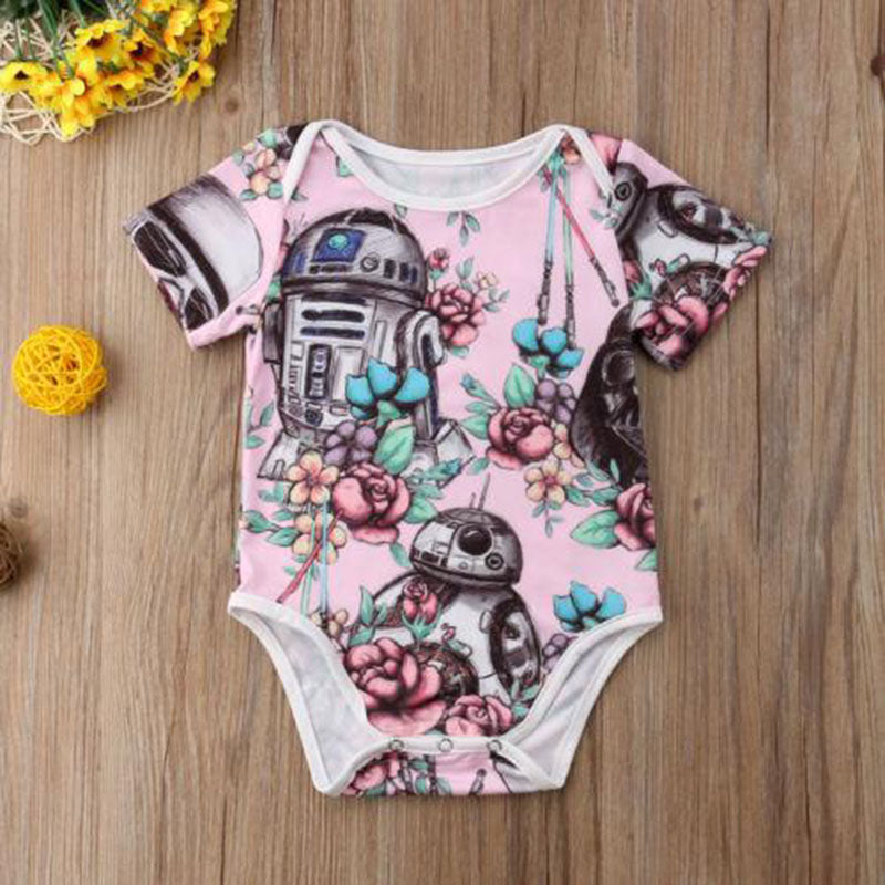 Summer Cute Newborn Baby Girl Short Sleeve Cotton Bodysuit