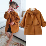 Toddler Baby Girls Winter Warm Woolen Bowknot Single Breasted Coat Outerwear