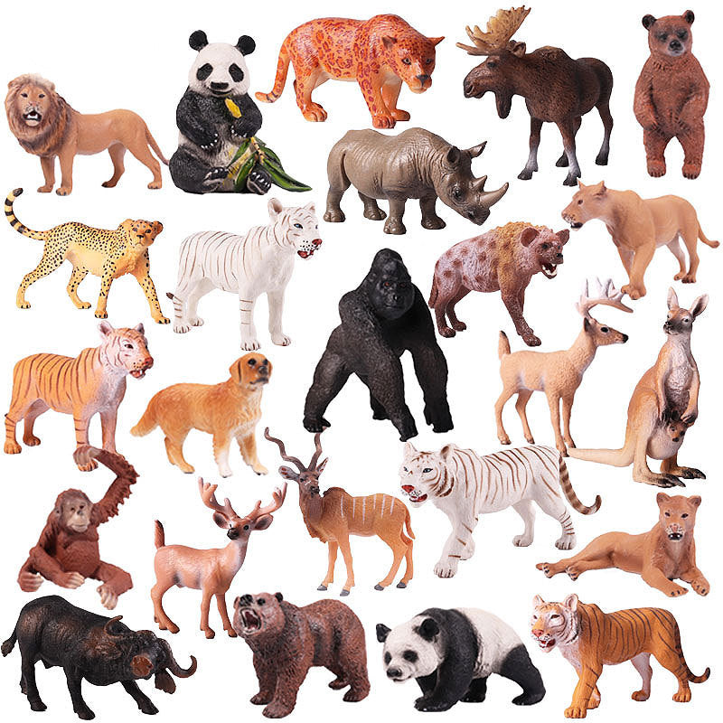 Wild Jungle Zoo Animal Models Plastic Action Figures Educational Toy For Kids