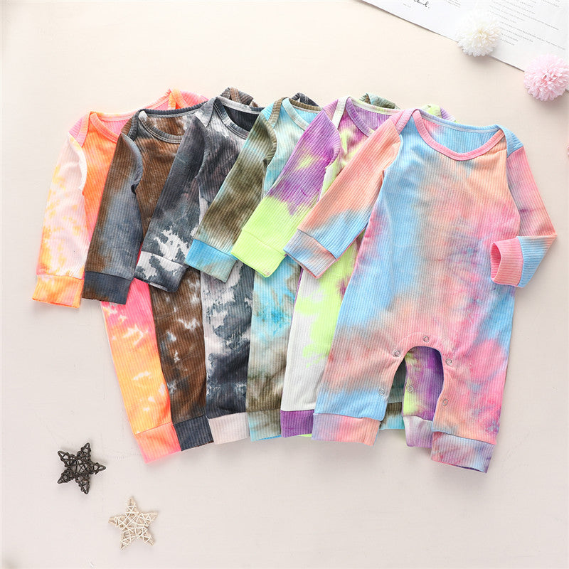 Newborn Baby Boys Girls Long Sleeve Tie-dye Print Knitted Ribbed Jumpsuit