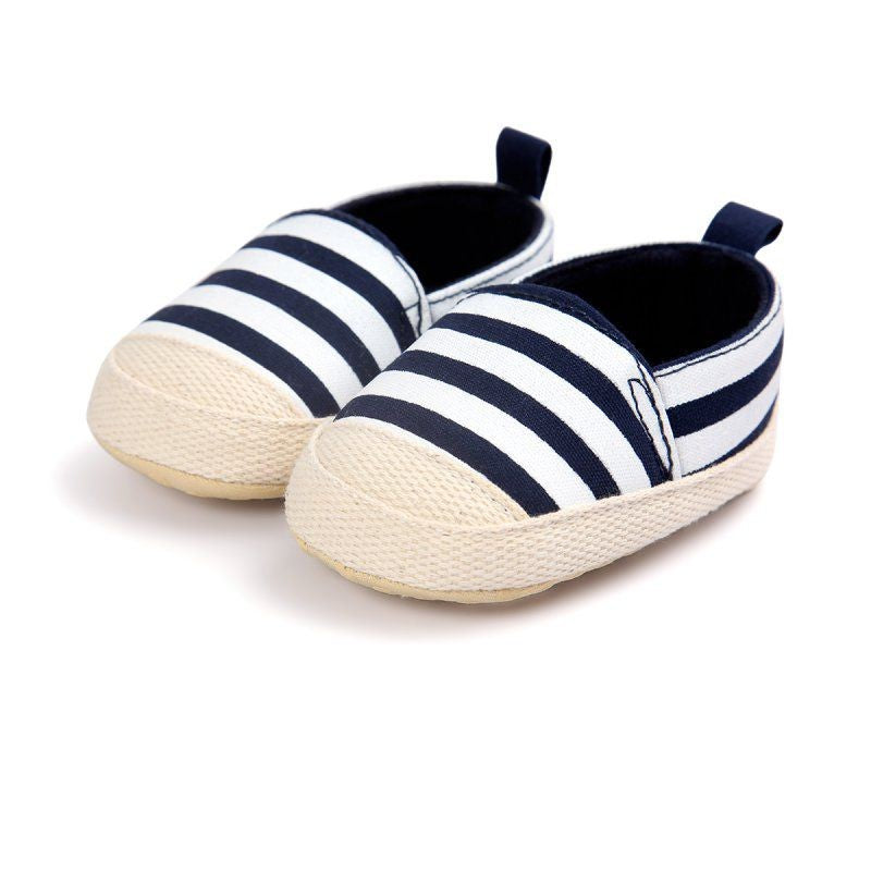 Baby Striped Canvas Shallow Shoes Slip-On Soft Sole Toddler Shoes