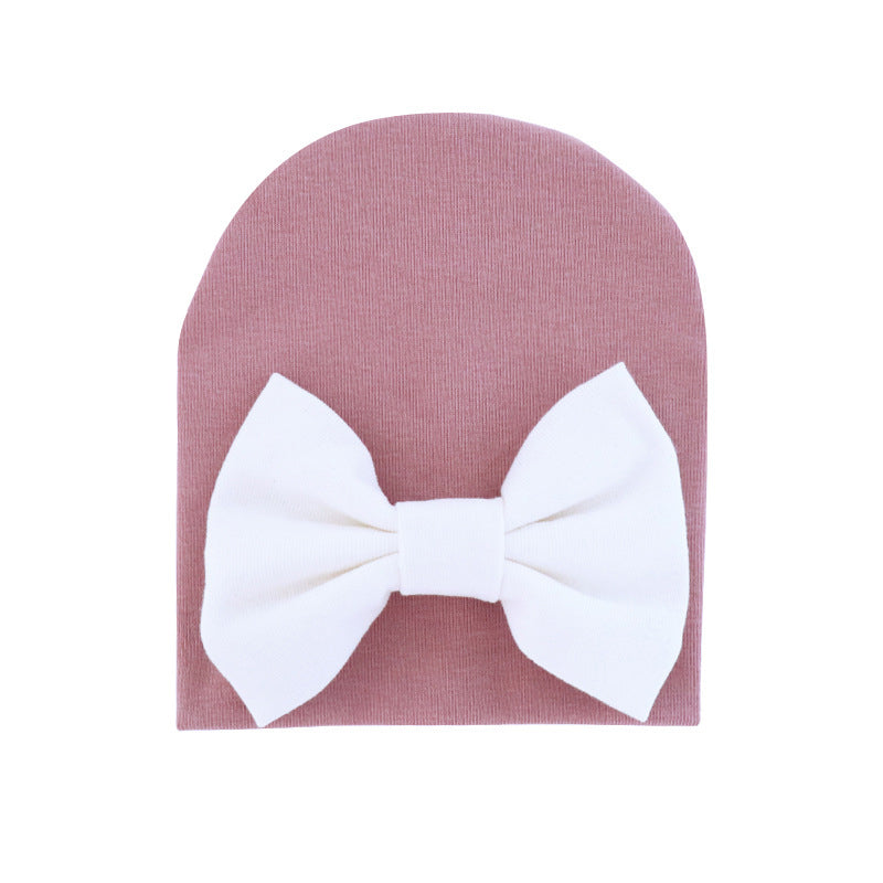 Newborn Baby Girl Solid Color Hat Cotton Bow Beanie For Spring Autumn