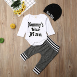 Mommy's New Man Print Long Sleeve Romper Pants Hat Outfits Set For 0-18M Baby Boys