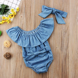 Summer Cute Baby Girls Sleeveless Denim Rompers Set With Headband