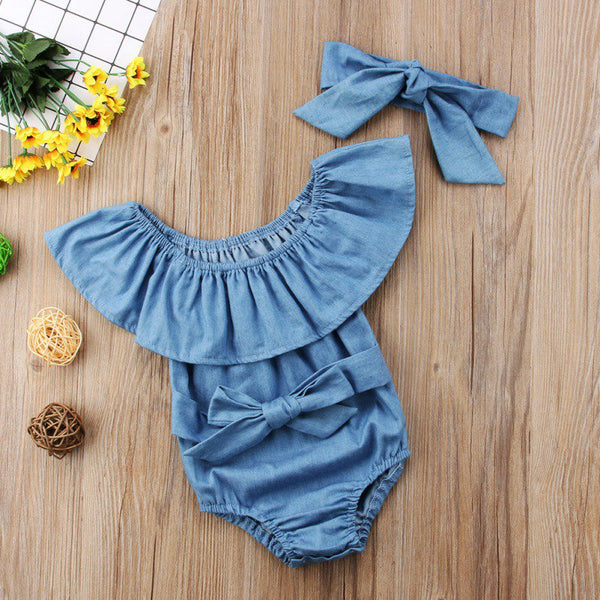 Solid Color Denim Romper