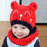 Baby Girls Boys Soft Knitted Cotton Warm Cartoon Ear Hat And Scarf 2Pcs Set