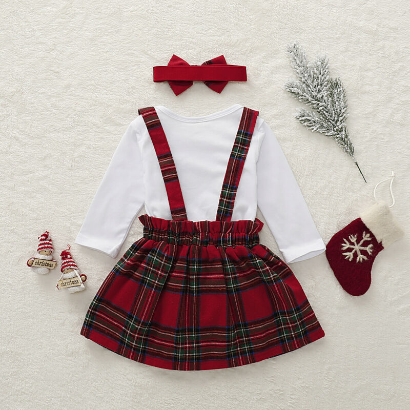 Newborn Baby Girl Christmas Romper Strap Dress Headwear Party Clothes Set