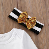 Baby Girls Little Sister Bodysuit Tops Striped Pants Bowknot Headband Outfits Set