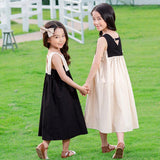 Summer Color-Block Flare Midi Vest Dress For 4-14Y Children Girls