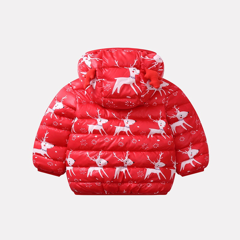 Baby Boys Girls Christmas Elk Down Cotton Jacket Windproof Hooded Warm Coat