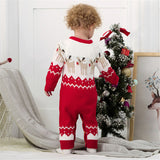 Baby Boys Girls Christmas Sweater Reindeer Long Sleeve Knitted Jumpsuit
