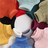 Baby Boys Girls Turtleneck Solid Color Pullover Knitted Sweaters