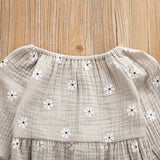 Newborn Baby Girl Long Sleeve Cotton Linen Floral Romper