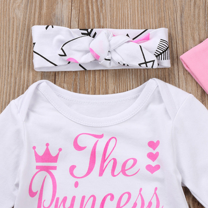 Baby Girl Clothes Set Cute Giraffe Romper Pink Dot Pants Hat