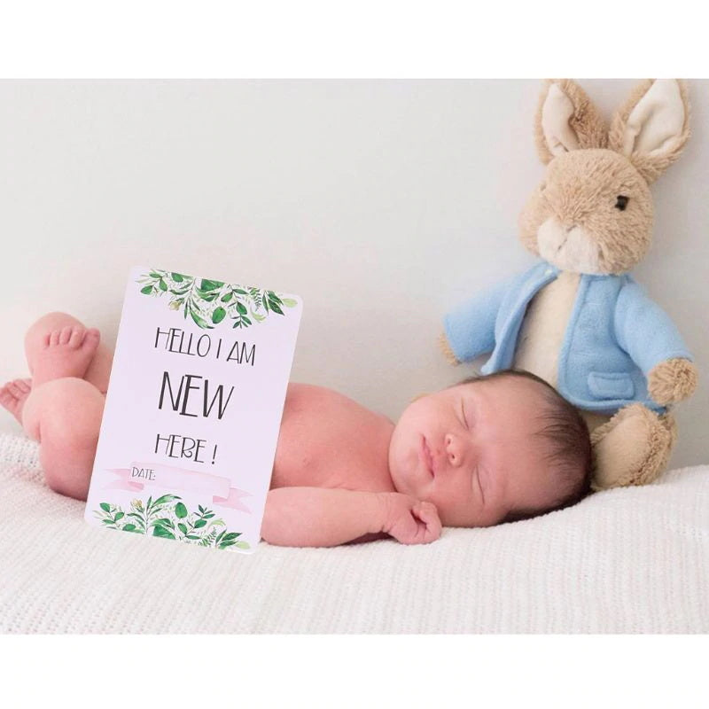 12pcs Baby Monthly Milestone Cards Age Markers Photo Prop For 0-12 Months Growth