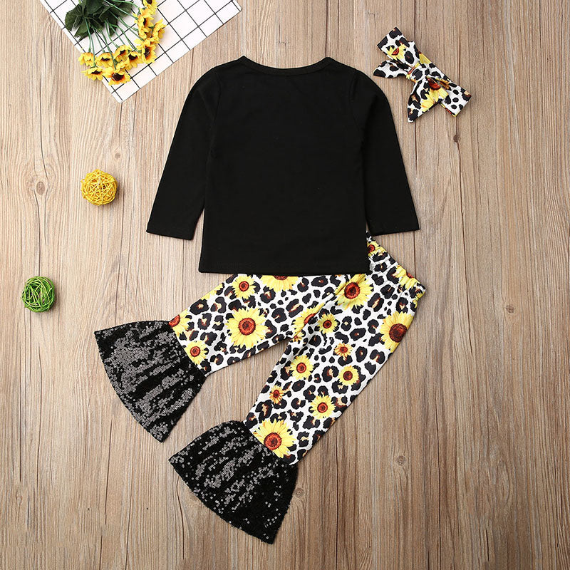 Toddler Baby Girl Long Sleeve T-Shirt Tops Flared Pants Headband 3Pcs Outfit Set