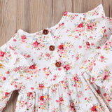 Newborn Toddler Baby Girls Sweet Floral Dress Long Sleeve Party Skirt
