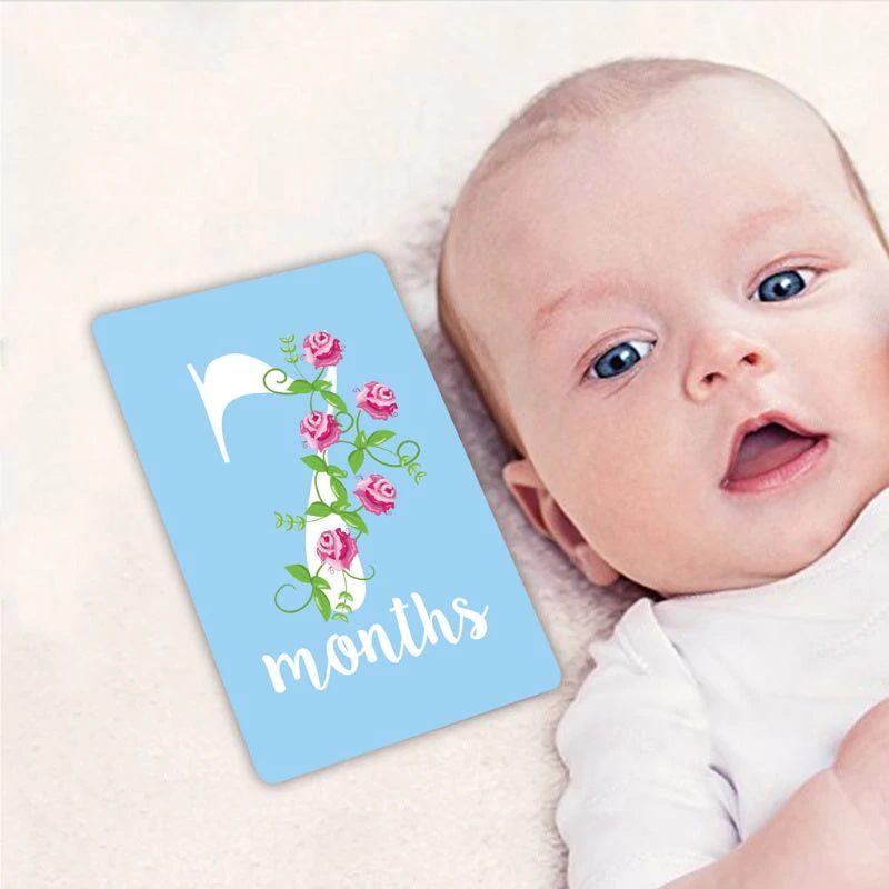 12 Pcs Baby Monthly Milestone Photo Cards For Baby's First Year Memorable Moments