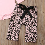 Newborn Baby Girl Ruffle Romper Tops Leopard Long Pants Headband 3Pcs Outfit Sets