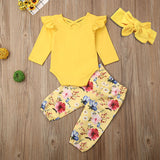 3Pcs Baby Girls Outfits Set Ruffle Romper Tops Floral Harem Pants Bowknot Headband