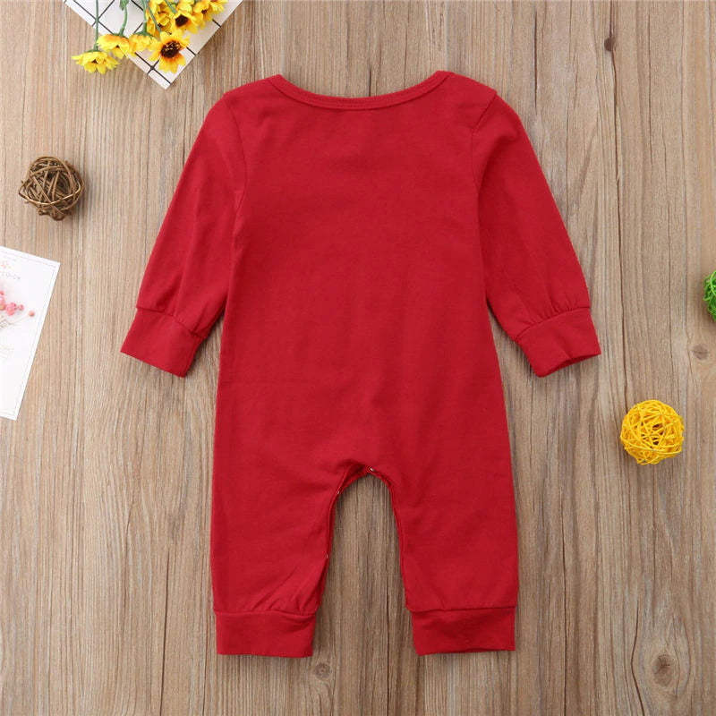 Cute Newborn Baby Fall Winter Outfit Cotton One-Piece Long Sleeve Jumpsuit
