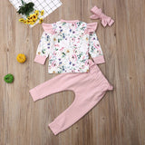 Baby Girl Pullover 3pcs Set Long Sleeve Floral Tops Bowknot Pants with Headband