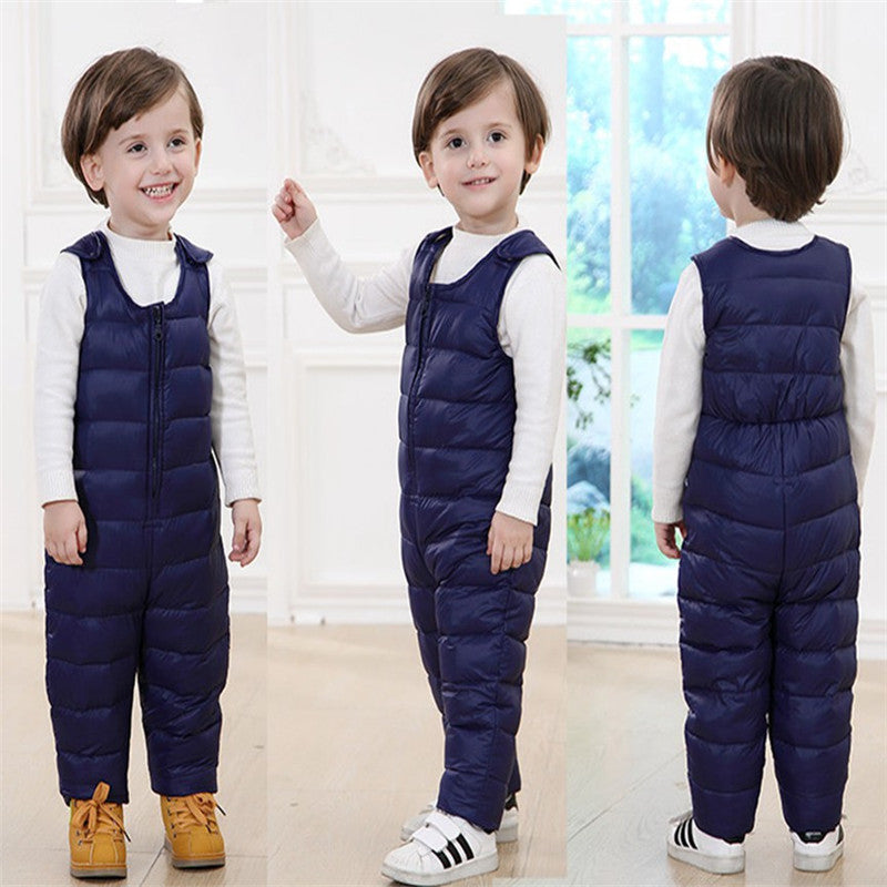 Baby Girls Boys Solid Color Winter Down Overalls Sleeveless Zipper Strap Pants