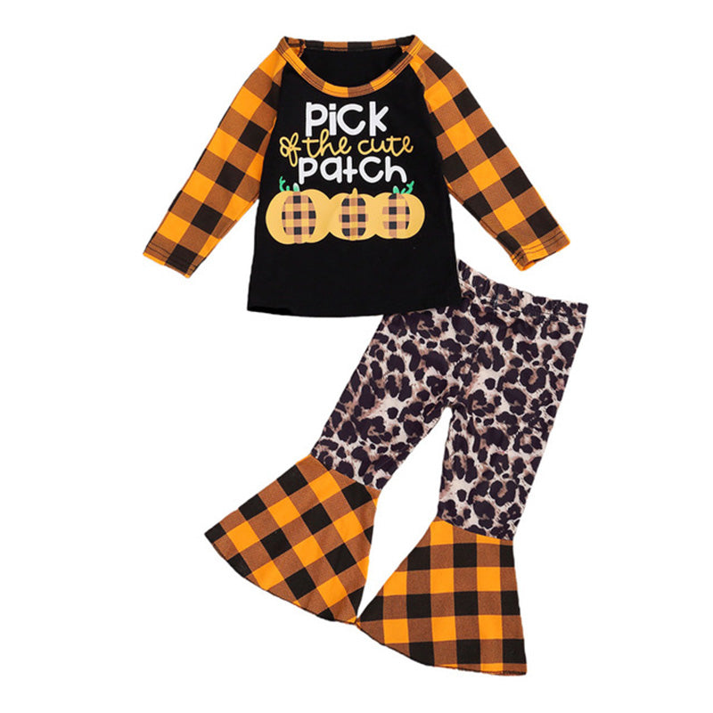 Toddler Baby Girls Pumpkin Long Sleeve Pullover Tops Flare Pants Clothes Set
