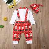 Baby Christmas Outfits Set Deer Printed Long Sleeve Romper Overalls Hats