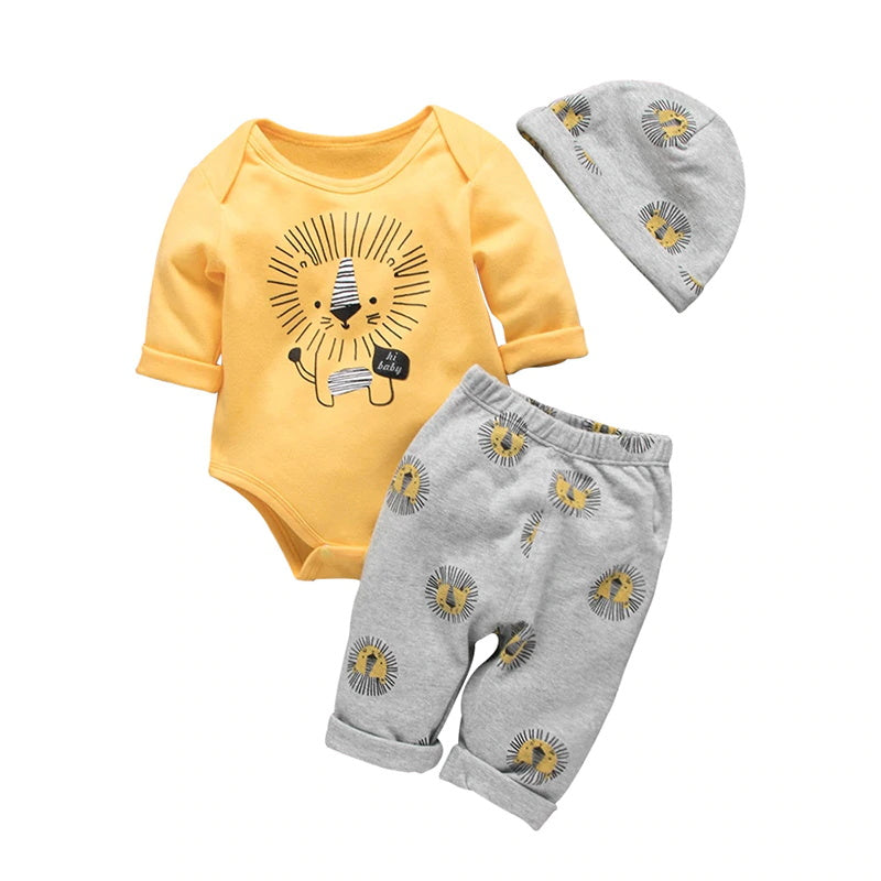 Newborn Baby Boys Long Sleeve Lion Printed Romper Pants Hat 3Pcs Outfit