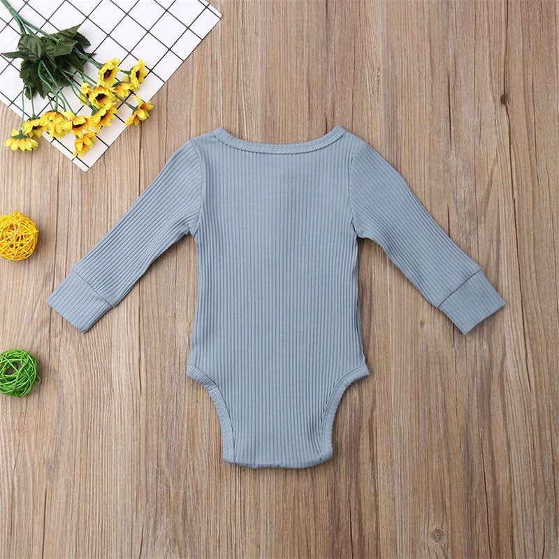 Newborn Baby Girl Boy One-Pieces Solid Color Long Sleeve Ribbed Knitted Bodysuit
