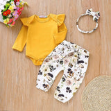 Baby Girl Clothes Set Fly Sleeve Romper Floral Pants Headband