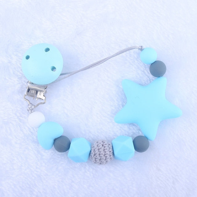Food Grade Silicone Star Feeding Chain Baby Pacifier Clips Chain
