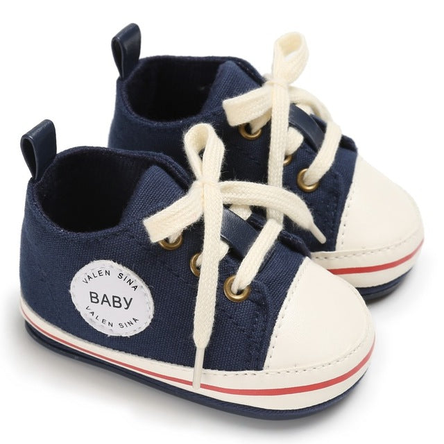 Baby Boys Girls Lace-up Canvas Sneaker Soft Sole Toddler Shoes