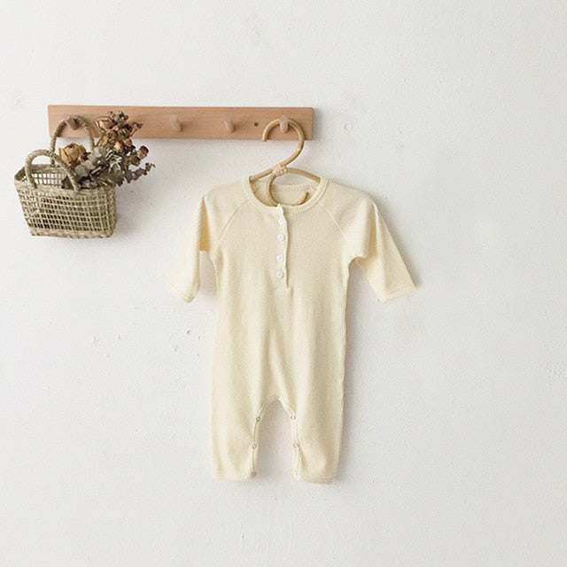 Newborn Baby Cotton Knitted Long Sleeve Jumpsuit Solid Rompers Outfit
