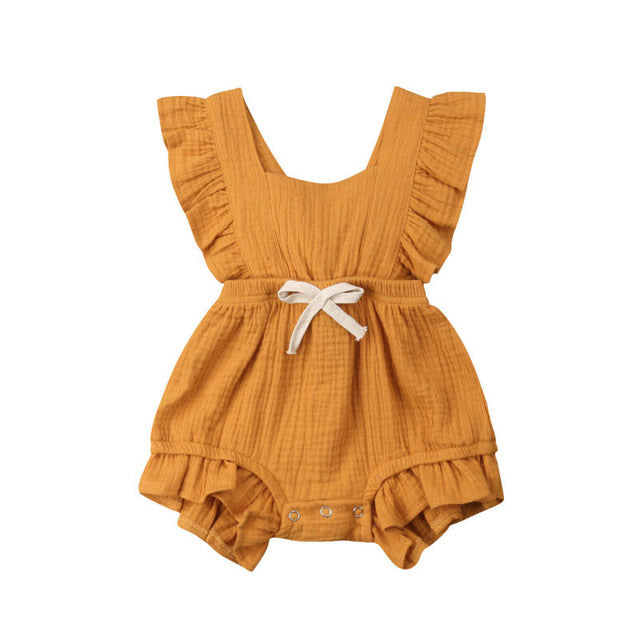 Baby Girl Sleeveless Ruffle Solid Color Backless Rompers Outfits