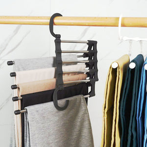Multi-function Pants Hanger 5 Tier Portable Stainless Steel Pants Racks Trousers Hanger Clothing Storage Organization - Home Atlantis