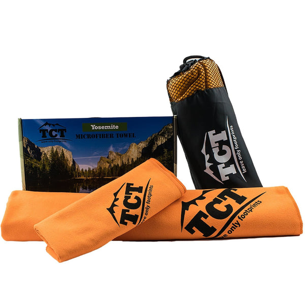 The Camping Trail Camping Hiking and Backpacking Towel Set  Quick drying portable great for any outdoor use its super absorbent anti bacterial and lightweight  Comes with a stuff sack and hand towel