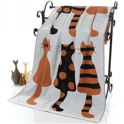 Serviette De Plage Cat Orange | Serviette De Plage
