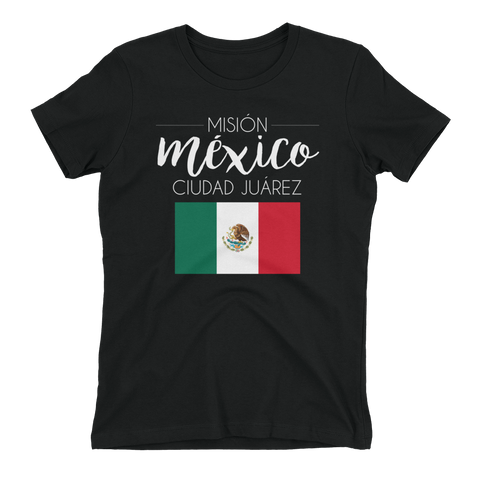 Women's Mexico Ciudad Juarez Mission Shirt - white print