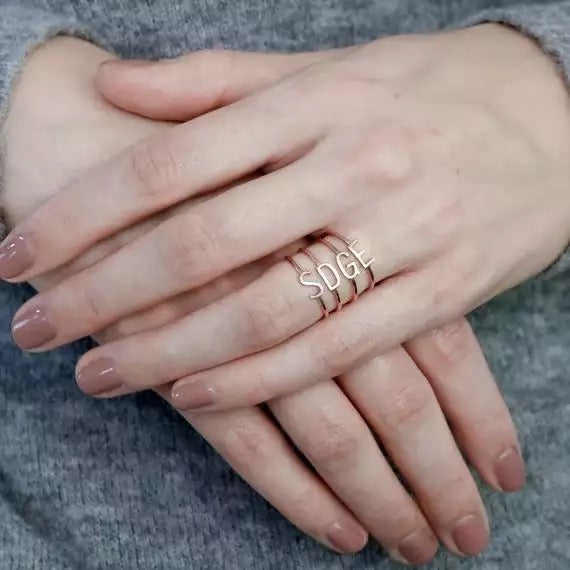 Initial stackable ring rose gold