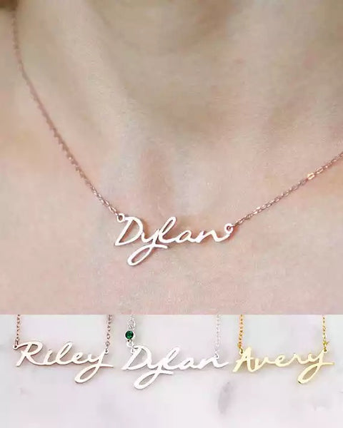 Custom birthstone Name necklace- gold