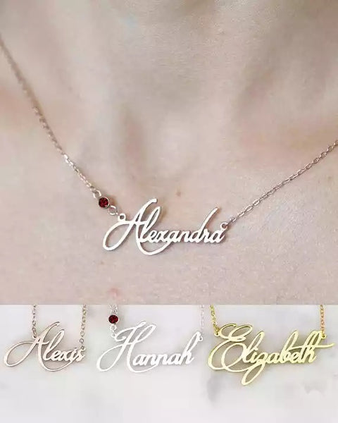 Custom birthstone Name necklace- rose  gold