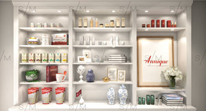 We render a background that resembles a physical store, inclusive of your products.