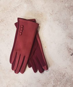 CLASS BURGUNDY GLOVES WITH BUTTON DETAIL