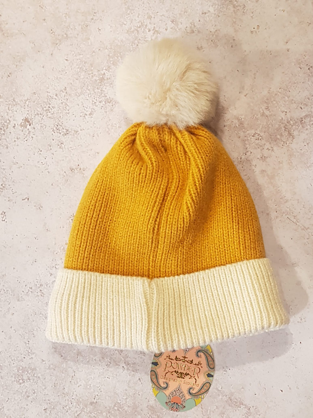 MUSTARD AND CREAM POMPOM HAT